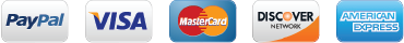 We accept PayPal, VISA, MasterCard, Discover, and American Express